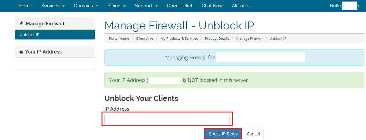 How To Unblock IP From Client Panel WHM